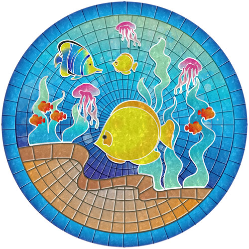 Tropical Fish Poolsaic Pool Medallion Small Non Adhesive